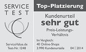 Service Test, Kundenurteil sehr gut, April 2014